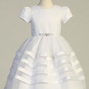 Short Sleeve Short Sleeve Satin First Communion Dress with Satin Trim Skirt