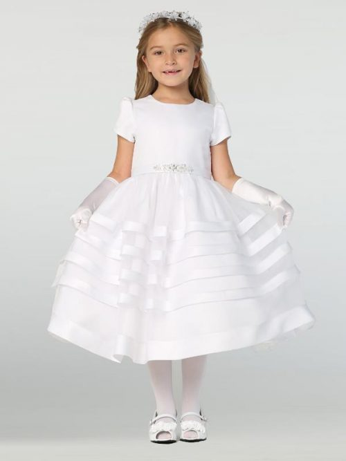 New Style Short Sleeve Satin First Communion Dress with Satin Trim Skirt 2020