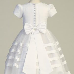 Tea Length Short Sleeve Satin First Communion Dress with Satin Trim Skirt