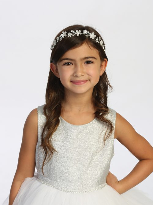 Rhinestone Flower and Leaf First Communion Headpiece