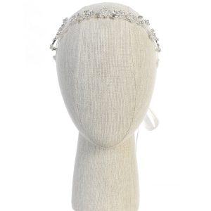 Silver Crystal Spray First Holy Communion Hairband