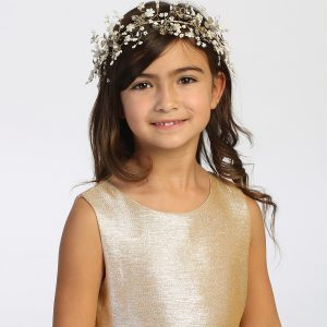 Silver Pearl Crystal Spray First Communion Hairpiece