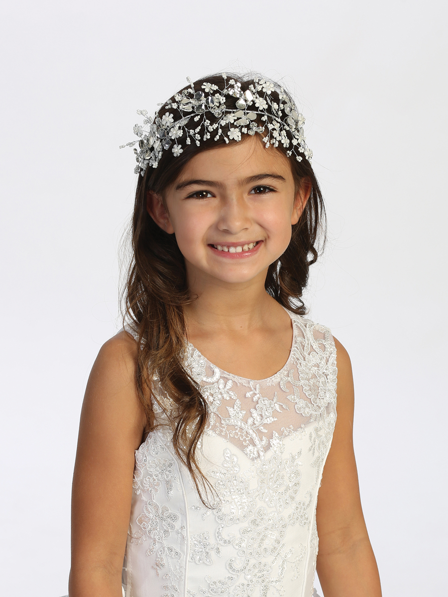 Flower with Beads Wire Floral First Communion Headpiece with Satin Ties