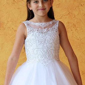 Sleeveless First Communion Dress Stone Bodice