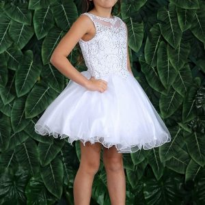 Sleeveless First Communion Dress Stone Bodice Above Knee Ruffle Skirt