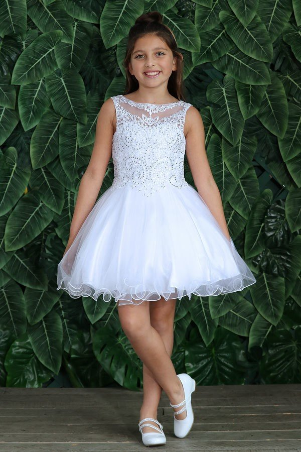 Knee Length First Communion Dress with Sleeveless Stone Bodice