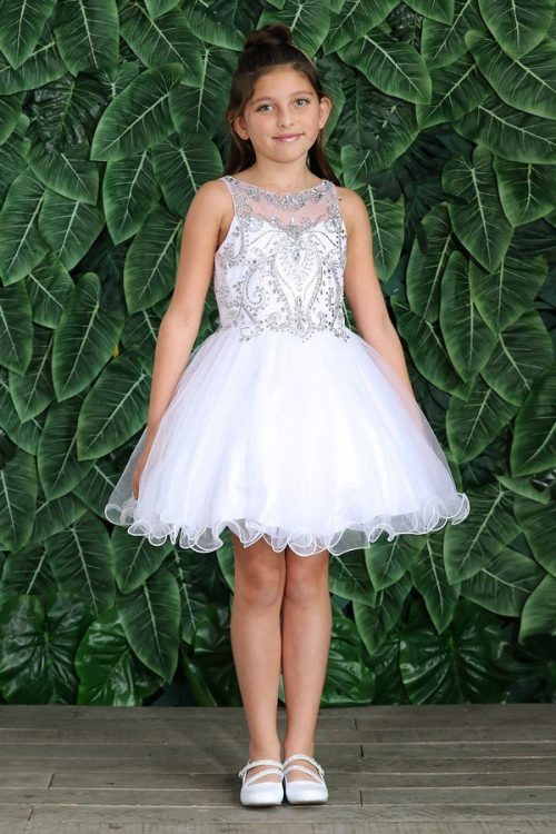 Knee Length First Communion Dress with Glitter Skirt