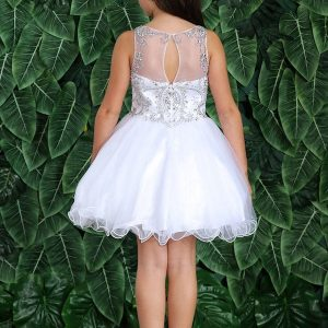 Sleeveless Jeweled Bodice with Glitter First Communion Dress Above Knee Length