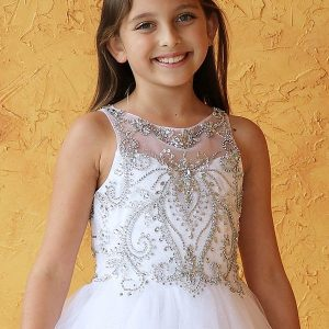 Sleeveless Jeweled Bodice with Glitter First Communion Dress New Style