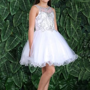 Sleeveless Jeweled Bodice with Glitter First Communion Dress Short Length