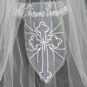 Spanish First Communion Veil with Mi Primera Communion Cross Close