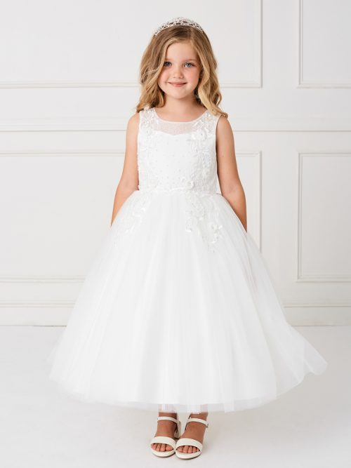 Stylish Ankle Length Lace Mesh First Communion Dress for 2020