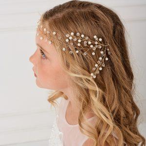 Stylish SImple Gold Crystal Spray First Communion Hairband
