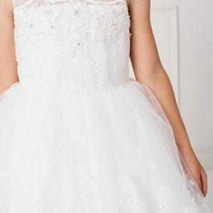 Stylish Tea Length White Lace Organza First Communion Dress