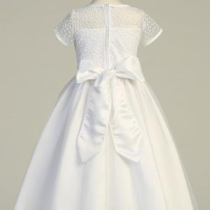 Tea length First Communion Dress with Embroidered Bodice