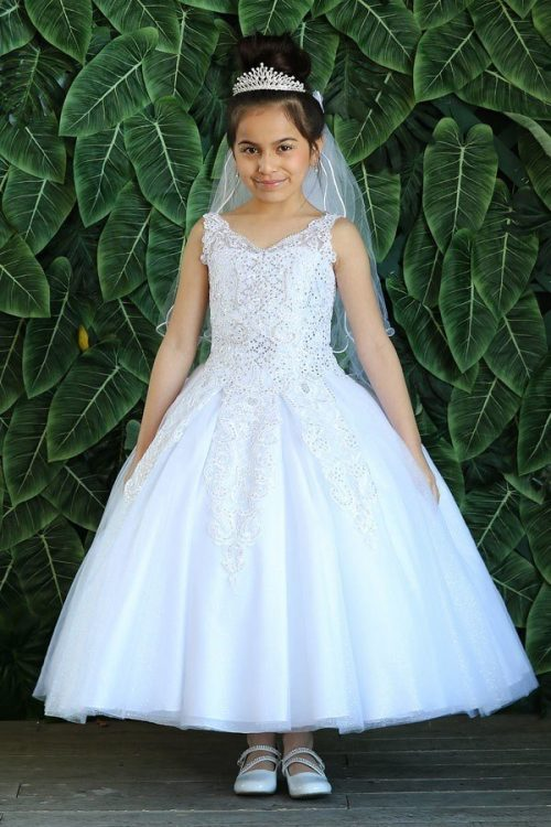 Tea Length First Communion Dress with Beaded Bodice