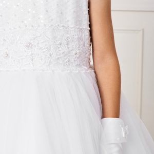 Tea Length Lace and Mesh First Communion Dress with Sheer Neckline