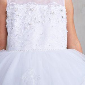 Tea Length White Lace Bodice Organza First Communion Dress