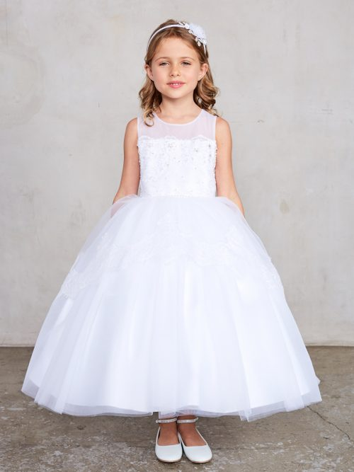 Holy Communion Dress with Illusion Neckline with Lace bodice
