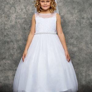 Venetian Lace Illusion First Communion Dress