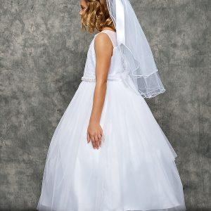 Venetian Lace Illusion First Communion Dress Pearl Waist