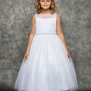 Venetian Lace Illusion White First Communion Dress