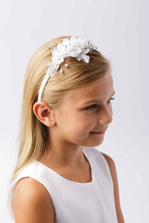 First Communion Headband with Pearls and Crystal Leaves