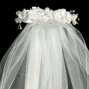 White Flower Pearl Crown First Communion Veil Close
