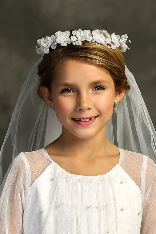 White Flower Pearl Crown First Holy Communion Veil