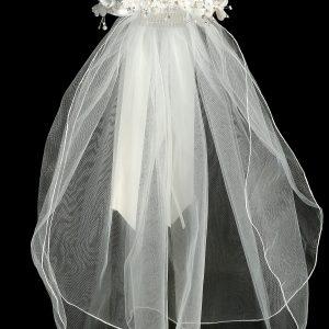White Flower Pearl Crown Veil