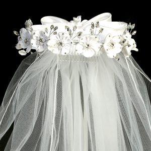 White Flower Pearl Rhinestone Crown First Communion Veil
