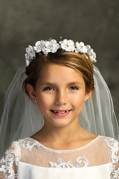 White Flower Pearl Rhinestone Crown First Holy Communion Veil