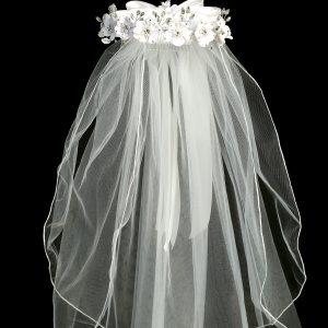 White Flower Pearl Rhinestone Crown Veil