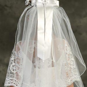 White Flower Pearl Rhinestone Crown Veil Back