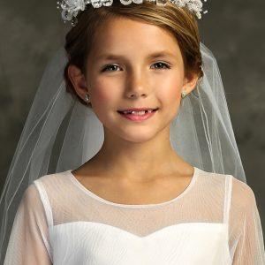 White Flower Rhinestone Crown First Communion Veil