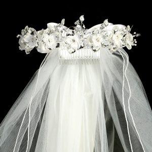 White Flower Rhinestone Crown Holy Communion Veil