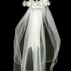 White Flower Rhinestone Crown Veil