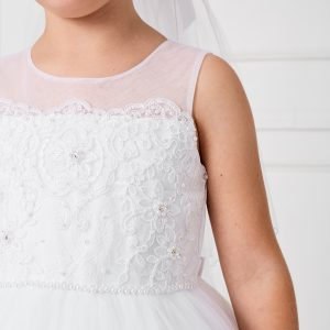 White Lace First Communion Dress with Mesh
