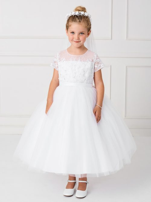 White Lace Satin and Mesh First Communion Dress with Short Sleeves