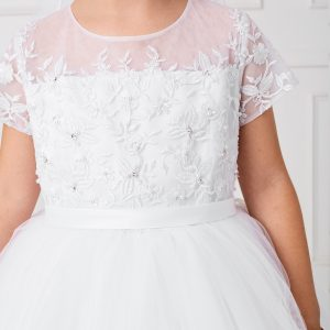 White Lace Satin and Mesh First Communion Dress with Short Sleeves Bodice