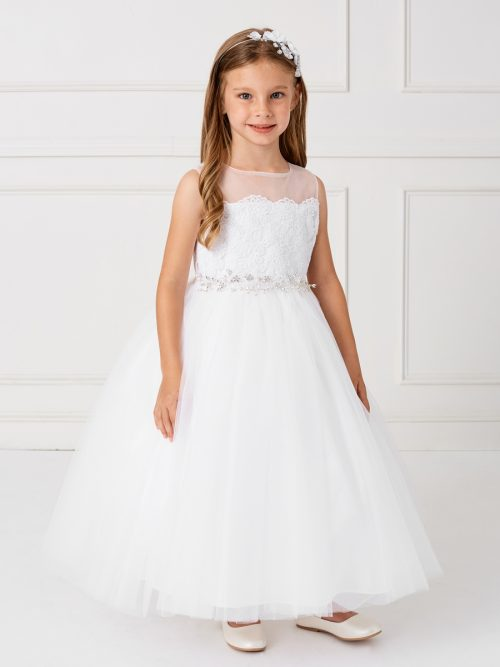 Holy Communion Dress with Illusion Neckline Crystal Sash