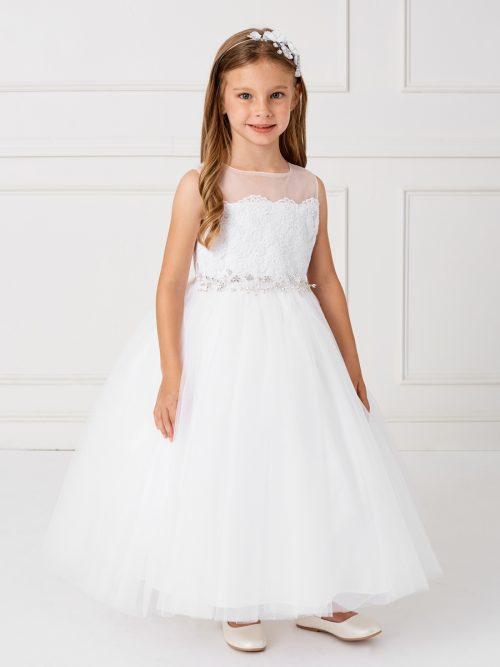 Holy Communion Dress with Illusion Neckline Crystal Sash