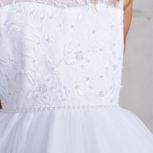 White Satin Bodice First Communion Dress with Lace Train