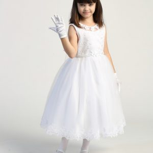 White first communion dress Embroidered tulle bodice with flower appliques