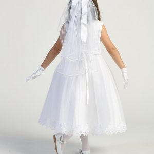 first communion dress Embroidered tulle bodice with flower appliques