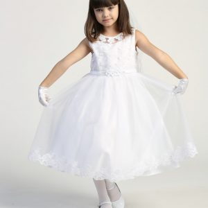 first communion dress Embroidered tulle bodice with flower appliques on Neckline