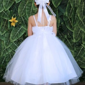 new style silver design bodice with tulle skirt first communion dress