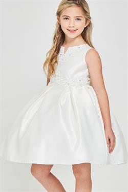 Beaded Bodice Solid satin pleated First Communion Dress