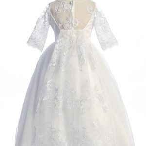 Beautiful Waterfall First Communion Dress Cording Lace
