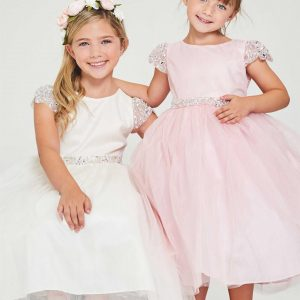 Cheap First Communion Dress with Pearl Cap Sleeves